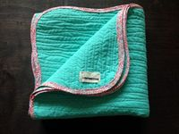 Turquoise Gold and Pink Shabby-Chic Quilt by CutUHStitch on Etsy