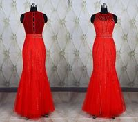 Sparkly Mermaid Scoop Neck Sheer Back Red Tulle Beaded Prom Dress