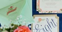 Eclectic Navy, Mint, and Peach Wedding Invitation: http://theeverylastdetail.com/eclectic-navy-mint-peach-wedding-ideas/