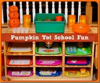 For Ladybug's Tot School, this week, we have a pumpkin theme! On Sunday I will share in our weekly Tot School post photos of her interacting with all of this. T