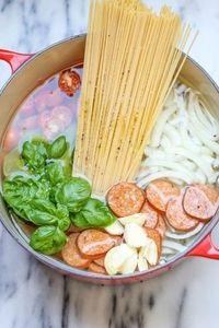 The one pot pasta recipe is so easy -- and so good! Just put all the ingredients into a pot with water, and it cooks into a finished dish.