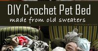 What a great idea! Turn old sweaters into a crochet sweater pet bed. It is really quite simple. Gather a bunch of old sweaters. You are going to cut them up, so