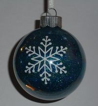 Glitter ornaments with vinyl snowflakes