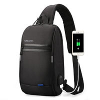 KINGSONS KS3174W Chest Bag USB 10 Inch Laptop Bag Casual Shoulder Bag for Camping Travel