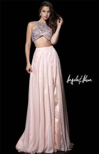 Angela And Alison 51036 Champagne Two Piece Slit Prom Gown