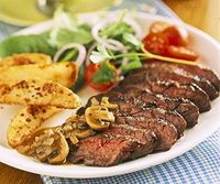 Skirt Steak With Mushroom Sauce And Seasoned Fries - Click for recipe and to add to Shopper