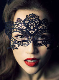 Black Fancy Crochet Lace Mask
