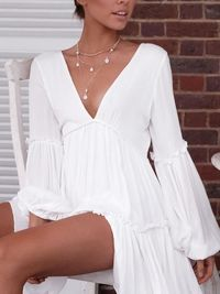 White Plunging Neck Ruffled Mini Dress $27.99