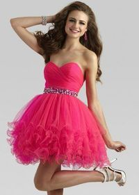 Hot Pink Layered Tulle Cocktail Dress With Beaded Waist