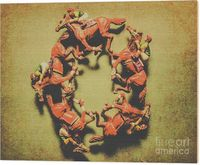 Horsing Around Wood Print | Antique sports art on a circular race of five jockeys riding horseback in competitive style. Around the racetrack | #horserace #horseracing #trots #racehorse #racehorses #woodwallart #melbournecup #art