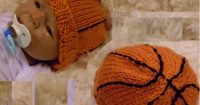 Hand Knit Basketball Baby Hat