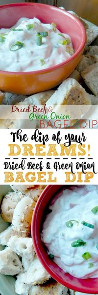 Dried Beef & Green Onion Bagel Dip...the best party dip around! Addicting, creamy, salty, onion-y, the ultimate crowd pleaser. (sweetandsavoryfood.com)