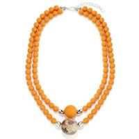 Beaded Necklace with Shell - Orange