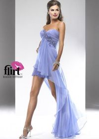 Purple Pleated Lace Crystal Beaded Strapless High Low Dress