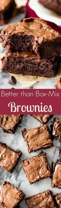 Homemade Brownies from Scratch -- easy, chewy, chocolaty, and made in one bowl! || Sugar Spun Run via