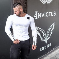 spring Slim Fit t shirt Muscle Tops Leisure Bodybuilding Long Sleeve Fitness personality tees $25.90