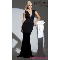 Sleeveless Floor Length Dress with Illusion Bodice by Tony Bowls - Brand Prom Dresses Beaded Evening Dresses Unique Dresses For You