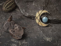 Large Pendant- Crescent Yellow Moon with blue drop, Lunula Necklace, Yellow Stained glass necklace, $38.00