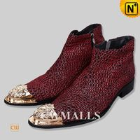 CWMALLS® Red Embossed Leather Ankle Boots CW750220
