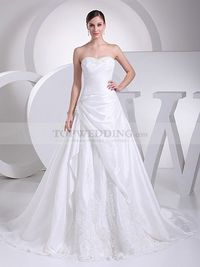BEADED STRAPLESS PRINCESS TAFFETA WEDDING GOWN WITH LACE DETAIL