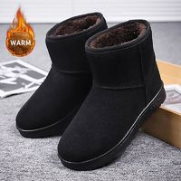 New Fashion Men Boots High Quality Waterproof Ankle Snow Boots Shoes Warm Fur Plush Slip on Winter Shoes for Dropshipping $40.32