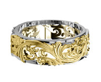 2 Tone Wedding Flower Band in Yellow Gold & White Gold, Six Variations of 1 and 2 Tone Solid Gold $950.00