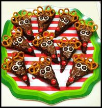 Rudolph brownies for preschool party - the kids loved them!! Attach M&Ms and mini pretzels with chocolate candy coating.