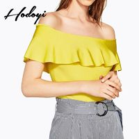 Vogue Sexy Sweet Slimming Bateau Jersey Summer Frilled Short Sleeves Sweater - Bonny YZOZO Boutique Store