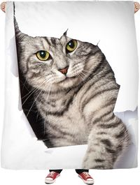 A Cat Hello Fleece Blanket $65.00