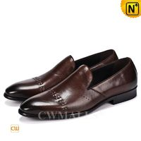 Men Leather Shoes | CWMALLS® Boston Mens Laser Leather Loafers CW719027 [Global Free Shipping]