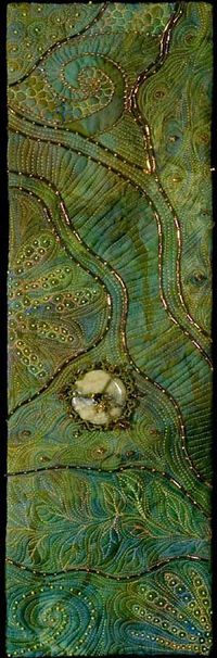 I � beading & machine embroidery . . . Chaos of Creation~ From the Rocks & Water Gallery. Size in inches: 5¾ x 18¼ Mounted size: 9 x 22 inches. In the private collection of George Wilson & Claire McClenny. ~By Larkin Jean Van Horn Technique...
