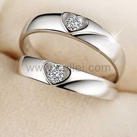 Gullei.com Hearts Unisex Sterling Silver Adjustable Rings for Lovers
