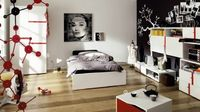 Beautiful bedroom interior design ideas based on White, Black and red colors to make a modern and beautiful bedroom design 2017.