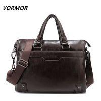 VORMOR New Leather Men's Handbag Business Men Briefcase Bag Large Capacity Shoulder Tote Bags $39.54