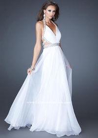 White Sequined Halter V Neck Open Back Floor Length Evening Dress