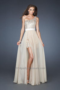 One Shoulder Champagne Sequined High Low Prom Dress  http://www.2014partydresssale.com