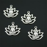 CLEARANCE Pack of 20 Silver Colour Sacred Lotus Flower Charms. Yoga Buddha Pendants. 16mm x 17mm £6.99