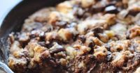 Dark Chocolate Chip Skillet Cookie - 1 stick (8 tablespoons) unsalted butter 1/2 cup granulated sugar 1/2 cup brown sugar 1 teaspoon pure vanilla extract 1 egg, beaten 1 and 1/2 cups all-purpose flour 1/2 teaspoon baking soda 1/2 teaspoon kosher s...