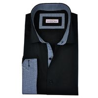 Create a stylish look with this Oxford Men Black formal dress shirt. Woven in Egyptian cotton this formal shirt has a fine finish.  �€� 100% Superfine Egyptian Cotton  �€� Classic collar  �€� French cuff  �€� Oxford Men...