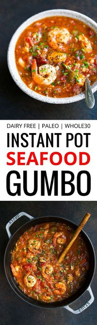 A Whole3 Instant Pot Seafood Gumbo recipe that comes with healthy & delicious ingredients inside. Perfect for meal prep and such a comforting, one pot meal!
