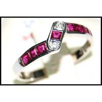 18K White Gold Unique Ruby Gemstones Diamond Ring [R0023]