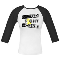 Endometriosis Go Fight Cure Fitted Raglan T-Shirts featuring a distressed eye-catching design with a yellow ribbon for awareness and advocacy