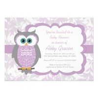 Have a Girl Baby Shower Coming Up? Wow your quests with this super cute purple and gray owl baby shower invitation