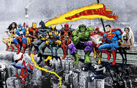 MORE Marvel & DC Superheroes Lunch Atop A Skyscraper! - New Art, More Heroes! - Art Print/Poster Wall Art £16.00