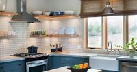Brick on one wall and tile on the rest with these open shelves would be my dream kitchen!!!