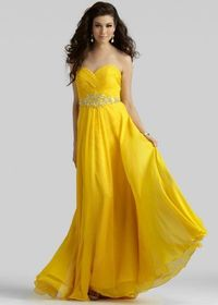 Beaded Waist Long Pleated Yellow Strapless Clarisse 2108 Prom Gown