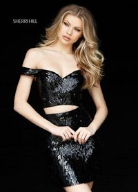 51411 Sequin Pattern 2 Piece Black Off-The-Shoulder Short Dress For Homecoming by Sherri Hill