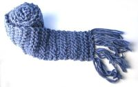 Extra long chunkyknit fringed scarf denim blue by spellitwithPEAS, $55.00