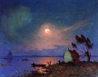 Ferdinand du Puigaudeau (1864-1930) French Impressionist Painter ~ Pont-Aven in the Moonlight