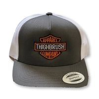 """THIGHBRUSH® BIKERS - """"THIGHBRUSH APPAREL COMPANY�€ - Snapback Hat - Charcoal Grey and Whilte"""